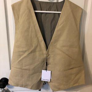 Mens Calvin Klein Linen Suit Vest